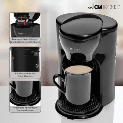 ماكينة قهوة سيراميك محمولة بسعة 1 كوب مثالية للمكتب والمنزل CLATRONIC KA3356, إيمي شيك