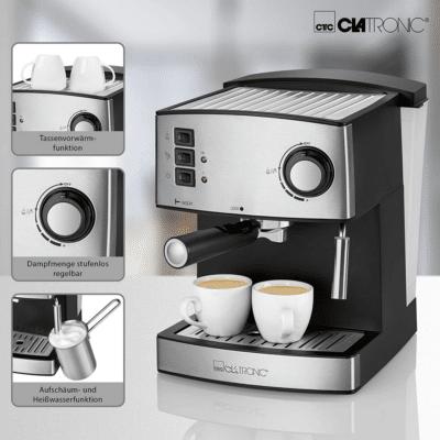 آلة تحضير القهوة و الكابوتشينو الإحترافية 15بار أسود/الفولاذ المقاوم للصدأ CLATRONIC ES3643, إيمي شيك