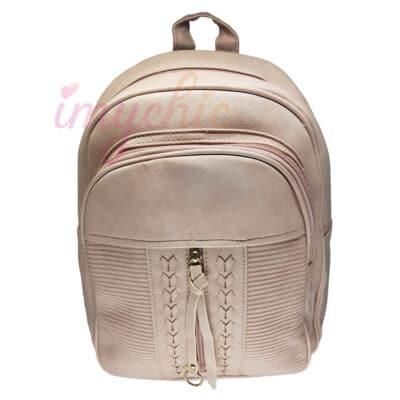 حقيبة ظهر جلدية على الطراز التركي بتصميم ربطة العنق وردي K5254A, إيمي شيك