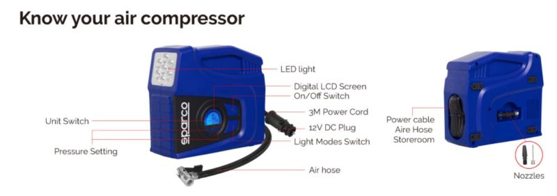 Compresseur D'air 12V SPARCO SPT163, imychic